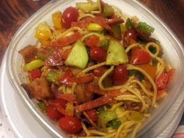 Healthy pasta recipes: Ms. Vivian's Spaghetti Pasta Salad 1 lb spaghetti noodles (can use macaroni noodles) 2 chopped tomatoes 1 cup chopped green and black olives 1 large cucumber 1 cup green,, red, and yellow bell pepper 2 stalks celery 2 stalks green onion 4 tbsp salad supreme spices 1 packages pepperoni, chopped 10 slice fried thick bacon, drained on paper towel 1 bottle creamy italian dressing 1 *** i used about 20 grape tomatoes #soup #Recipes #food #eat #smothie #eating #cook