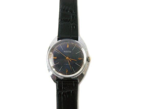 Vintage Vostok watch, 17 jewels mechanical watch Wostok, soviet classic men watch with blue dial, USSR watch wristwatch with black strap  Soviet Men's Watch Vostok (Wostok)...