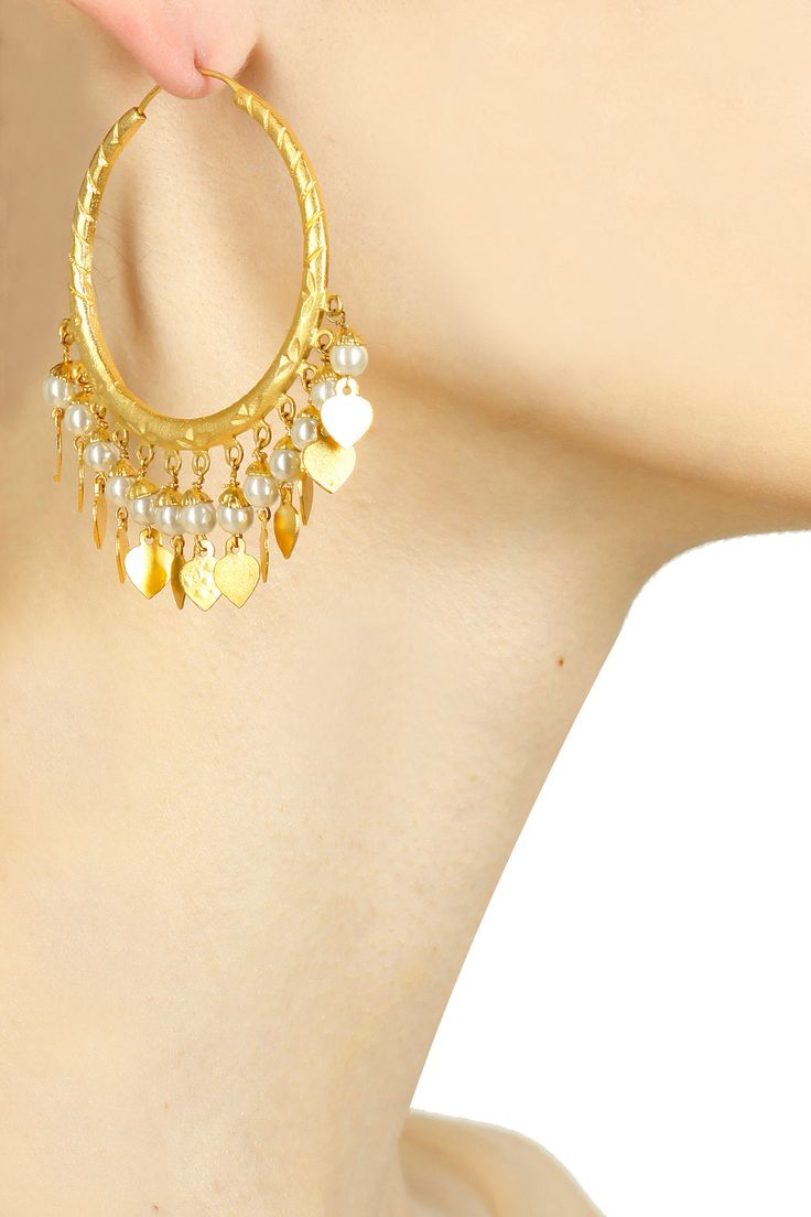 Gold finish pearl and gold leaves hoop earrings available only at Pernia's Pop Up Shop.