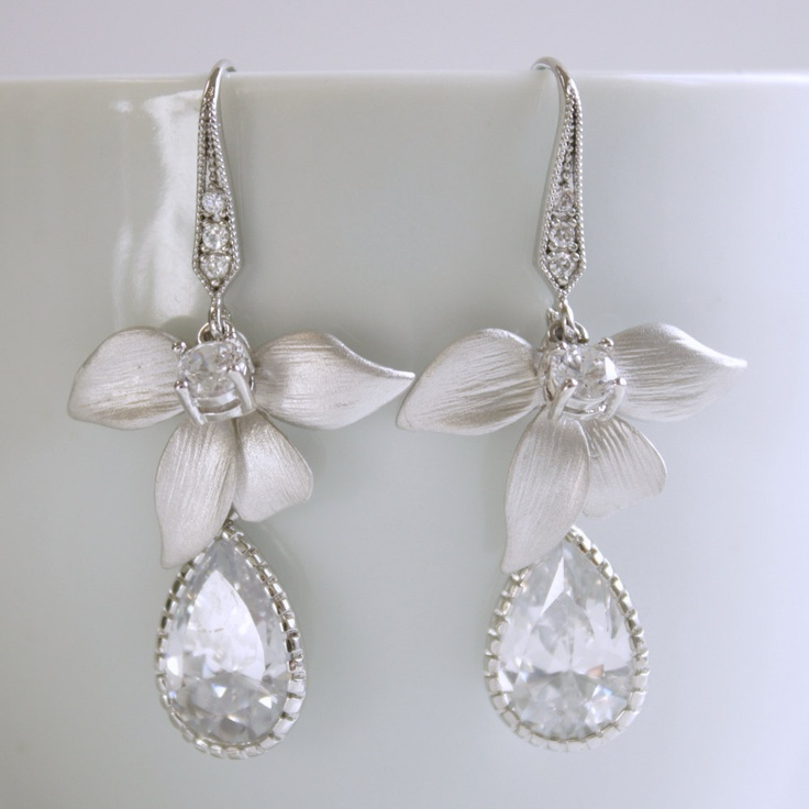 Wedding Earrings Silver Orchid Earrings Cubic Zirconia Dangles Wedding jewelry. $34.00, via Etsy.
