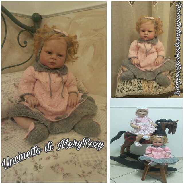 Vestitino lavorato a maglia, con fascia per capelli e scarpine lavorati all'uncinetto per bambola reborn ma anche adatto alle bimbe.  #vestitino #vestito #fasciacapelli #scarpine #scarpe #uncinetto #crocheted #crochet #handmade #fattoamano #diy #bebè #bebe #bimba #baby #reborn #doll #dolls #knitting #knitted