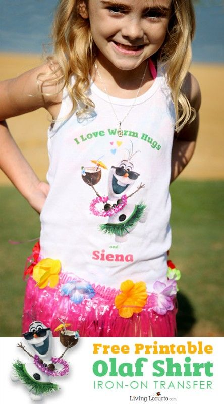 Free Printable Olaf T-Shirt Design   Frozen in Summer Party