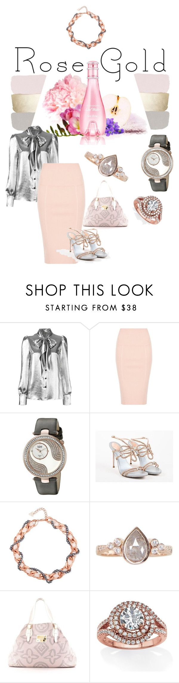 """""""Rose Gold"""" by tinydancer2018 ❤ liked on Polyvore featuring Yves Saint Laurent, bürgi, René Caovilla, GUESS, Luna Skye, Louis Vuitton, Palm Beach Jewelry and rosegold"""