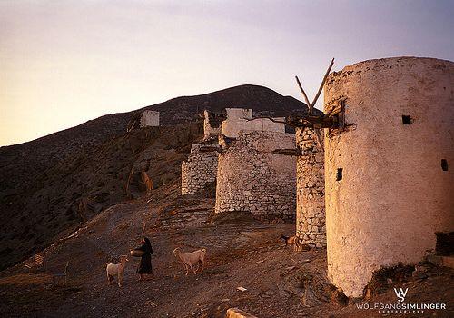More than 75 windmills in Karpathos Island Greece