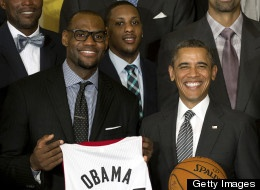 LeBron James presenting President Obama with his own Miami Heat jersey!