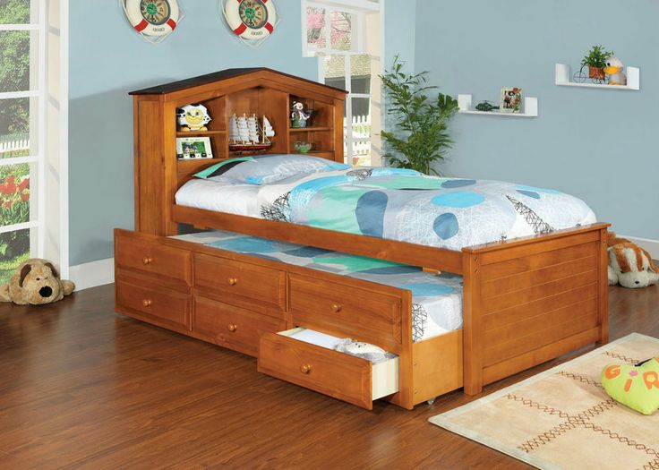 Twin Bed Captains Oak Or Dollhouse White Bookcase Headboard With Trundle