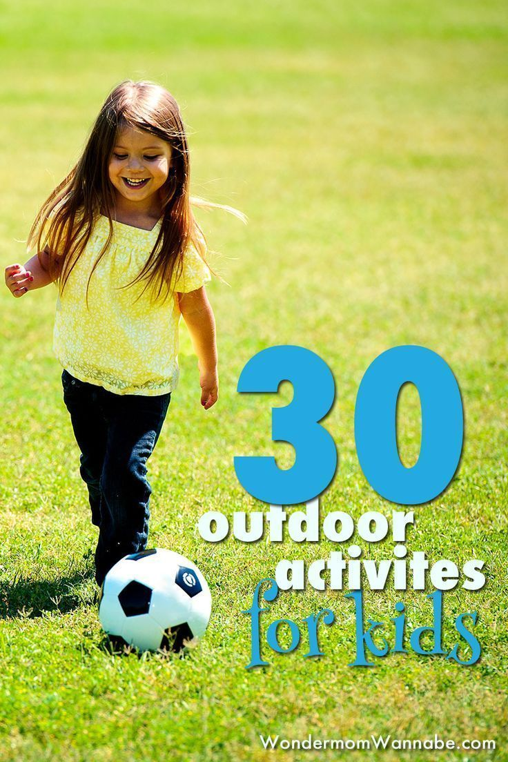 A list of over 30 outdoor activities for kids that will keep children active and entertained for hours outside, including ideas that require no equipment.