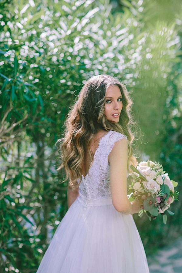 Modern botanical styled shoot - Love4Weddings #costarellos #weddingdress #openbackdress