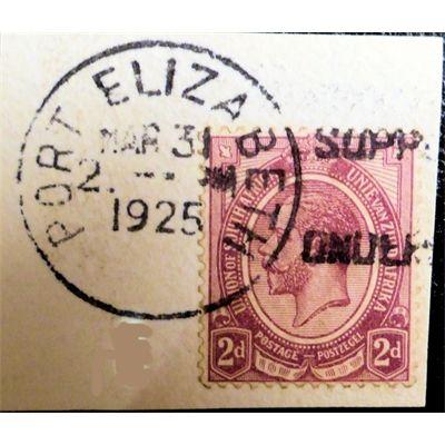 South Africa, KG V, 2 d, on paper with cancellation, Port Elizabeth, 1925 VF
