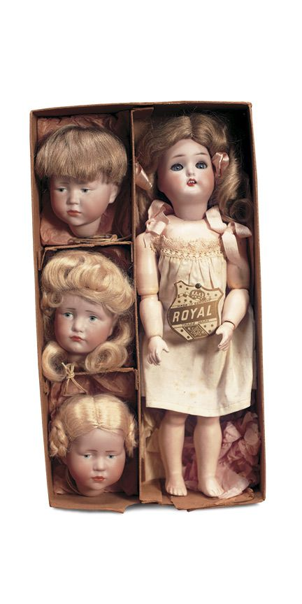 """German Bisque Set of Character Dolls by K*R  12"""" (30 cm). Marks: (each doll marked K*R 30,and mold number 101 or 114). Comments: Kammer and Reinhardt, circa 1909. Value Points: extremely rare and all-original multi-head set by the prestigious doll firm,is in pristine unplayed with condition,superb bisque,painting,and softest untouched mohair wig,original box labeled """"K*R Character Doll""""."""