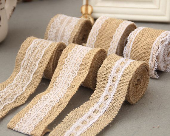 2yards *5cm Burlap Lace Ribbon ,Wedding Deco trimming