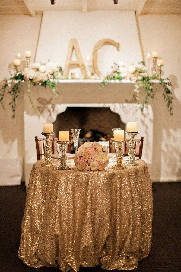 photo: Pinkerton Photography - gold wedding reception idea