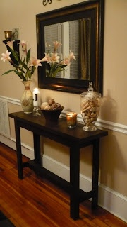 Couch Table: this is what I want for the entry way. I would make a bottom shelf for shoes.