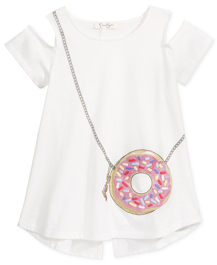 Jessica Simpson Donut Cold-Shoulder Pocket T-Shirt, Big Girls (7-16) - Shirts & Tees - Kids & Baby - Macy's