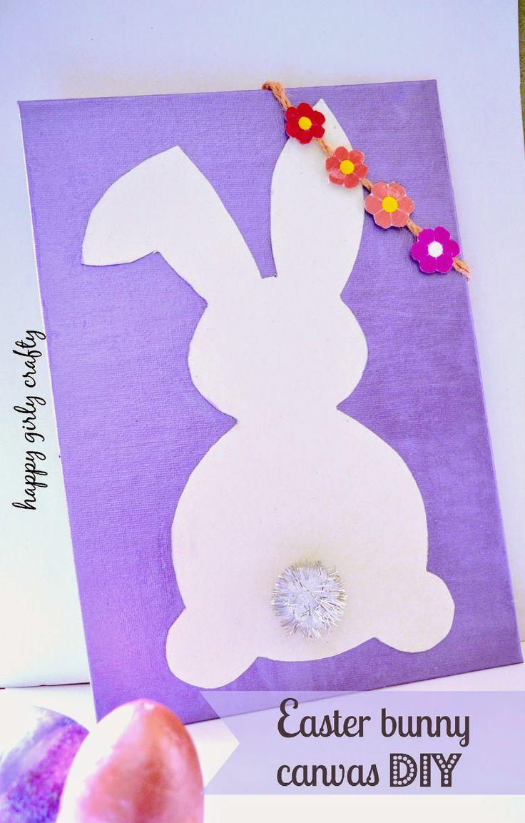 Easter bunny canvas DIY! / Φτιάξτο μόνη σου : Πασχαλινός λαγός σε καμβα!