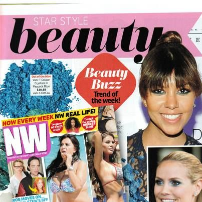 Trend of the week as seen in NW Magazine Australia - cool blue hues for those bold, beautiful eyes! Take a swatch from this week's mag and check out Vani-T Mineral Colour Crystals in Peacock Blue to get the look!