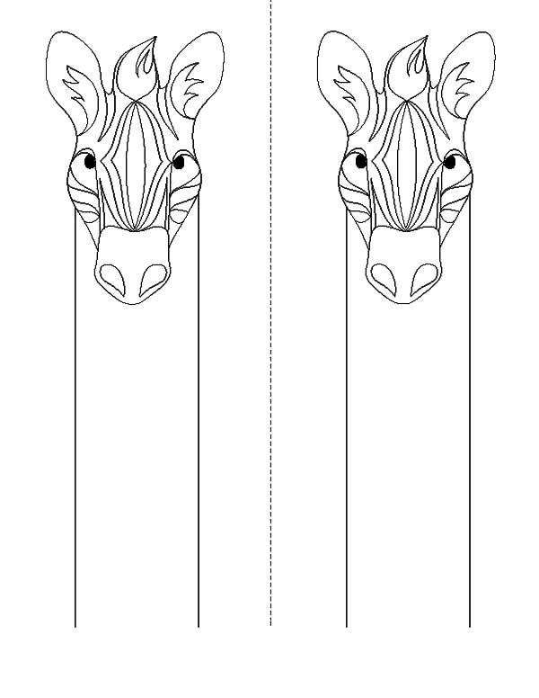 Bookmarks, : Two Zebra Bookmarks Coloring Pages