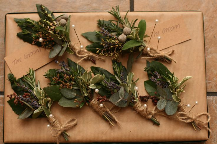 Herb rustic buttonholes. Please contact the Stockbridge Flower Company, Edinburgh for more details.
