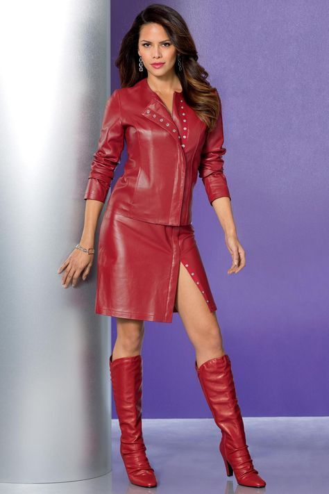 Red leather skirt and jacket ensemble with red leather boots
