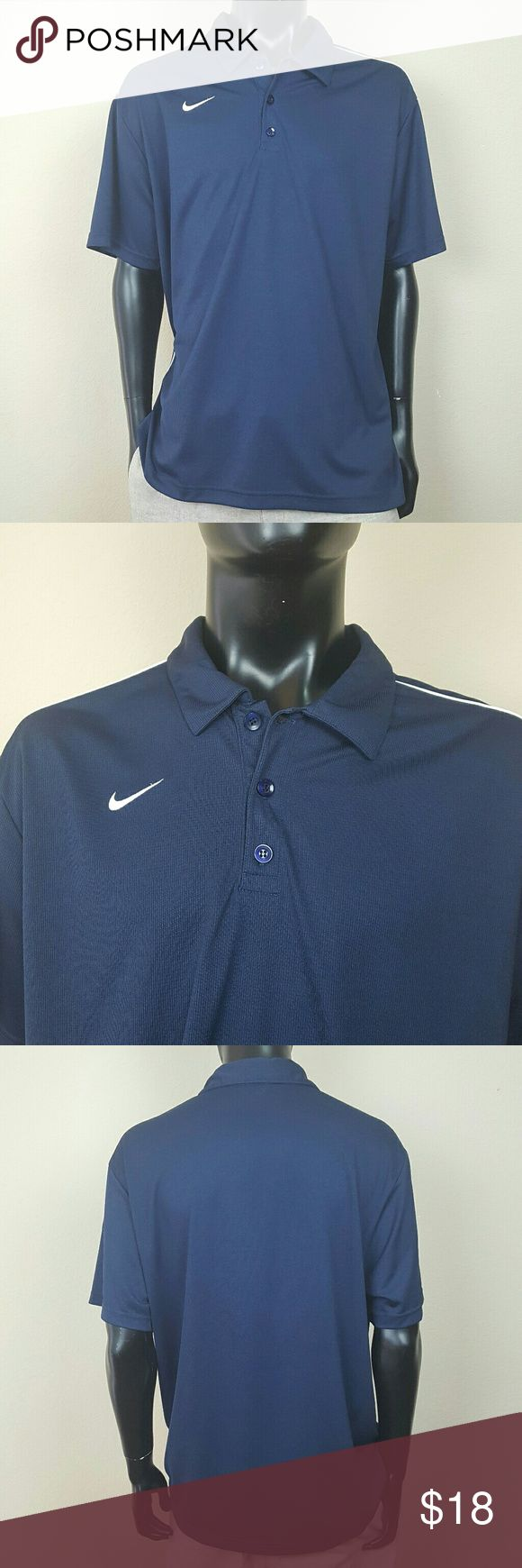 Nike Polo Dallas Cowboys Navy Blue Good Used Condition. Nike short sleeve Navy Blue Polo shirt with white swoosh & piping on the shoulders & down the sides. Small snag on the left sleeve (pictured). Navy Blue buttons. Great fan gear to cheer on your favorite navy colored NFL or NCAA team. ie: Dallas Cowboys, Penn State, Navy, Arizona, or even Notre Dame. Great price for what you're getting. If you spill a beer on it at the tailgate,? No worries, it's 100% polyester soft it's machine…