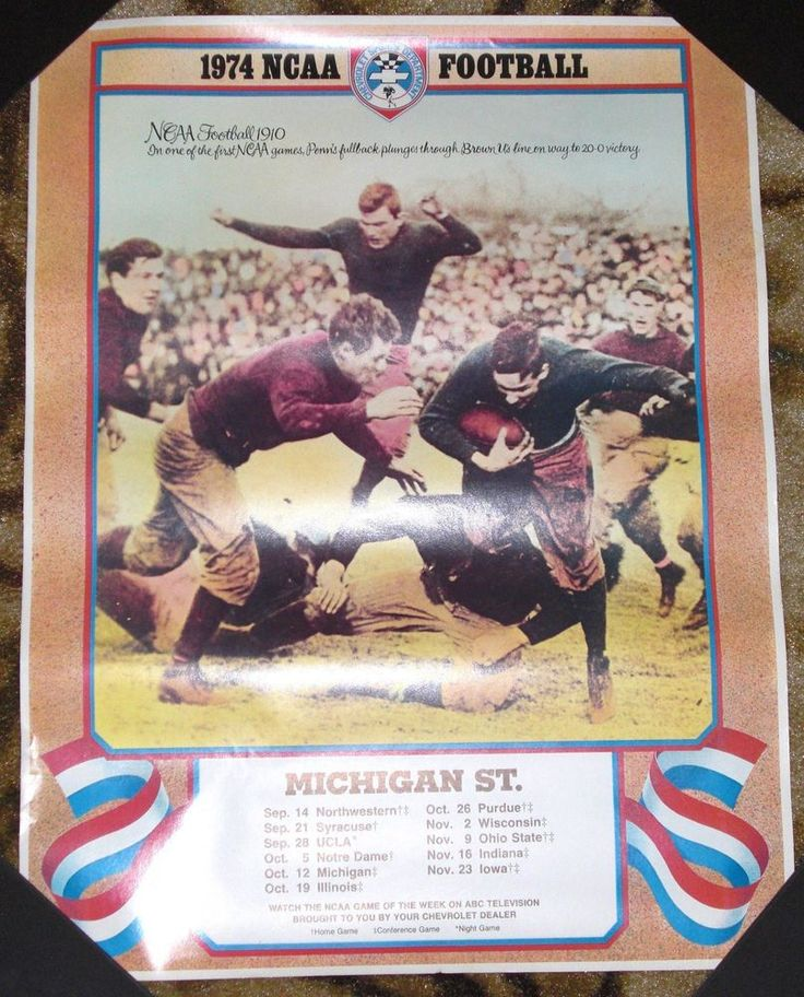 1974 Michigan State Football Schedule Poster Penn v Brown Chevy Chevrolet