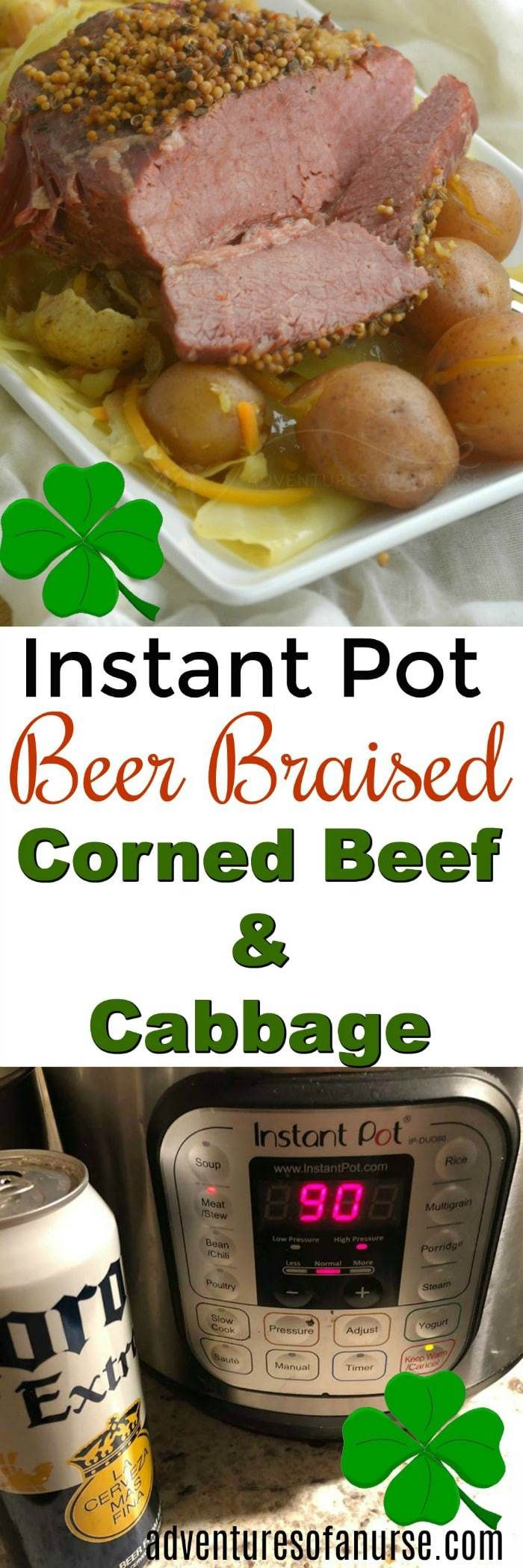 Instant Pot Beer Braised Corned Beef and Cabbage with Potatoes #InstantPot #CornedBeef #St.PatricksDay