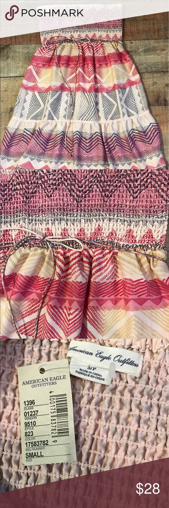 American eagle short strapless summer dress The Aztec print of this dress is so pretty. Strapless top and flowy bottom would be so comfy for a summer concert or dinner at the beach! Unworn, NWT. American Eagle Outfitters Dresses Strapless
