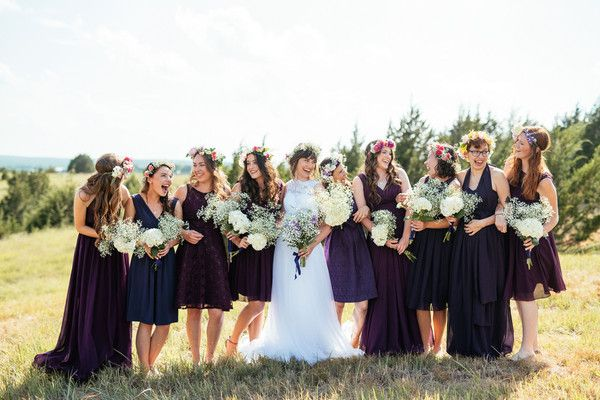 Rustic + whimsical bridesmaids dresses - deep purple + navy mix-and-match dresses {Kelcy Leigh Photography}