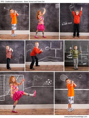 Chalkboard Expressions: All About Sports  - Photoshop Template Overlays and Brushes