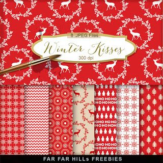 New Freebies Kit of Christmas Background - Winter Kisses