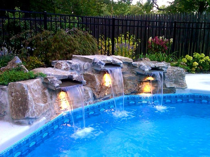 64 best inground vinyl pools images on pinterest pools for Luxury pools with waterfalls