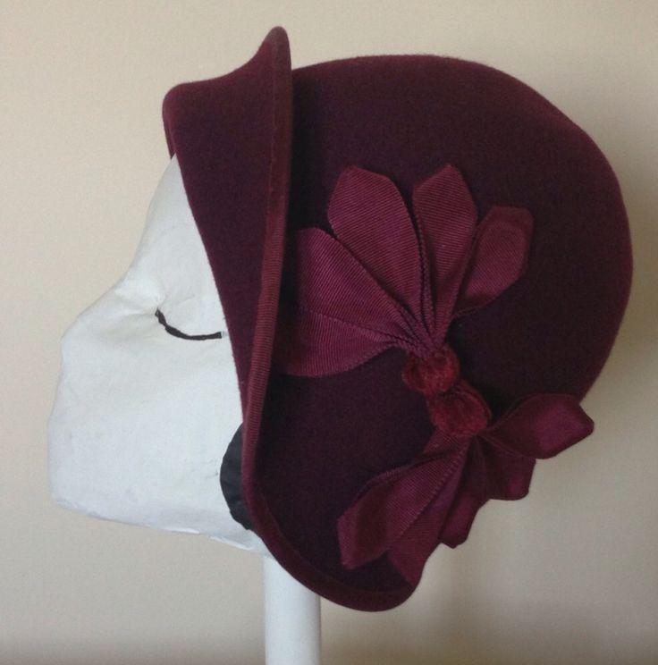 Wool felt cloche hat #millinery #judithm I like the petersham trim and edging.