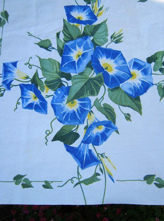 Vintage Wilendur Tablecloth Heavenly Blue Morning Glory Print   by LavenderGardenCottag etsy