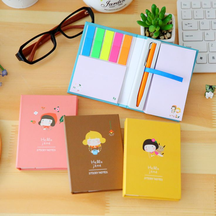 Hello Jane Korean Mini Cute Sticky Notes Post It Kawaii Bookmark Paper Notebook Writing Pads With Ball Pen For School Stationery