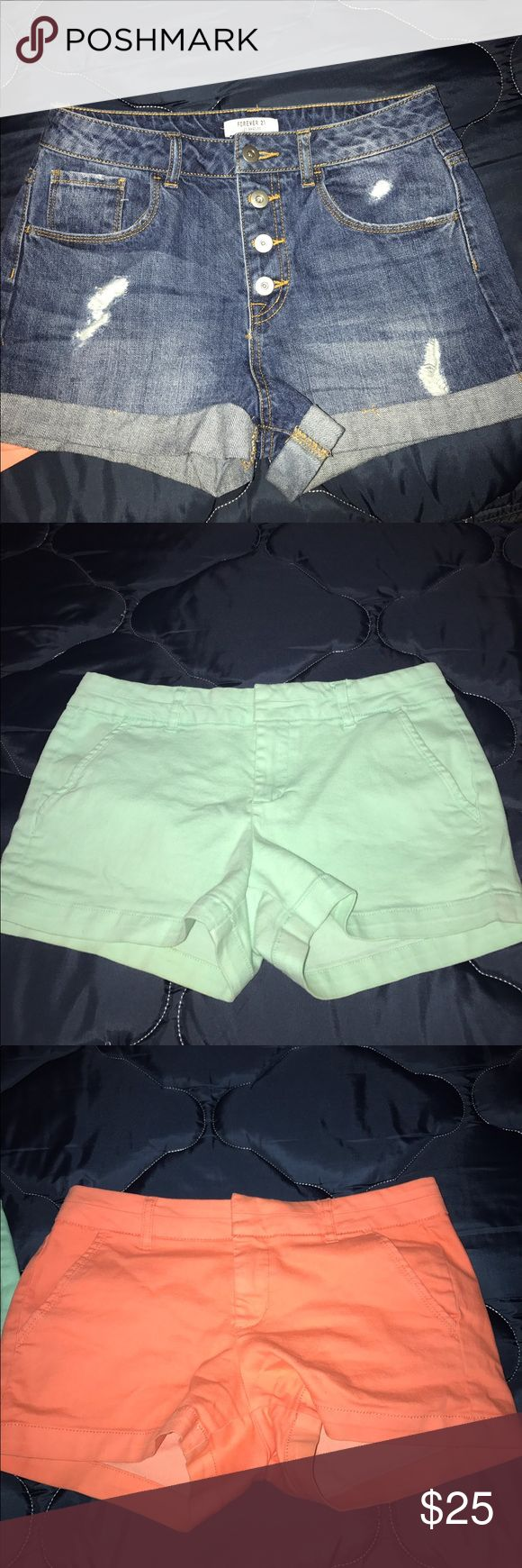 🔥PRICE DROP!🔥bundle of 3 shorts One pair of mint green shorts from Harper, one pair of neon coraly orange shorts from Harper , and one pair of high waisted distressed dark denim wash shorts from forever 21. All in size 27. Available as a bundle for discounted price or sold separately. Just ask for the pair you want and I can make a separate listing Shorts Jean Shorts