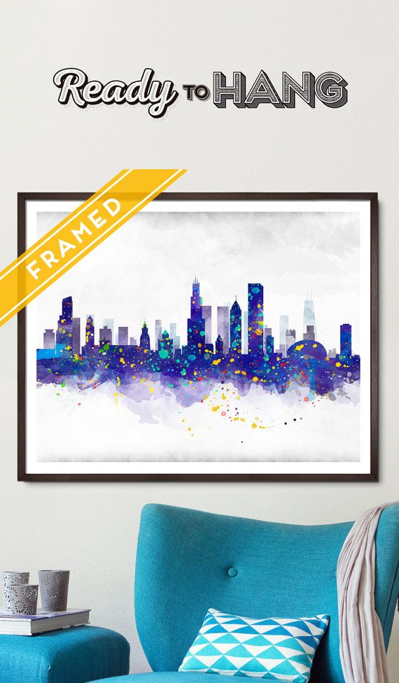 Chicago Cityscape Poster FRAMED - Watercolor Art Print Poster. FRAMED READY TO HANG!  The print is on French Cotton Paper Arches - 160gr Choose the size and color of the frame!   Available sizes:  • 16 x 20 inches - 50 x 40 cm  • 19.7 X 27.5 inches - 50 x 70 cm  • 24 x 36 inches - 60 x 92 cm   Chicago Cityscape ONLY POSTER:  https://www.etsy.com/listing/235655106/chicago-skyline-watercolor-art-print?ref=shop_home_active_2&ga_search_query=chicago     More...
