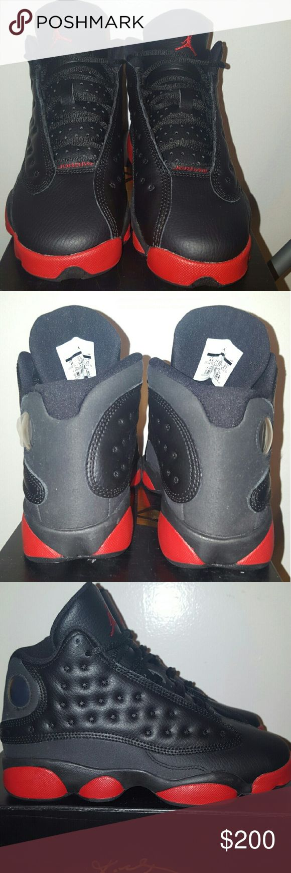 Air Jordan 13 Dirty Bred Black & Red Air Jordan 13  Size 4Y  Colorway: Black/Gym Red  Release Date: December 2014   Style #: 414571-003  Brand new with original box but it is missing the top so it will also come with a brand new replacement Kobe Bryant box as well.  100% Authentic   Super rare. Don't loose out on on these.   Any questions please feel free to ask. Jordan Shoes Sneakers