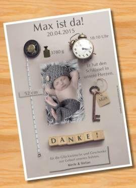 Danksagungskarten Geburt Geburtskarte MUSTER 96 - Bild vergrößern