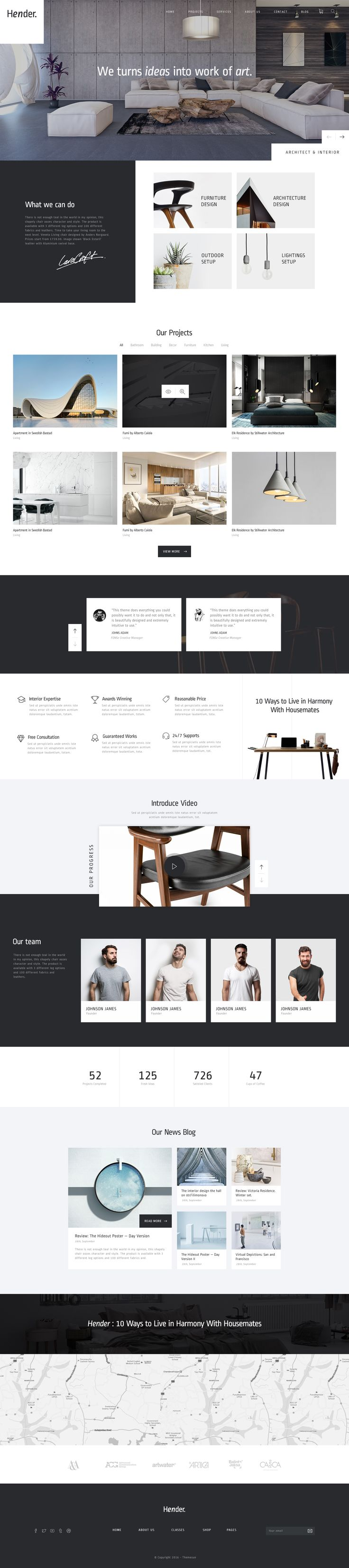 Hender – Architecture and Interior Design Agency PSD Template Hender is a clean and clear PSD template designed exclusively for Architecture and Interior Design Agency. Feel free to choose your fa...