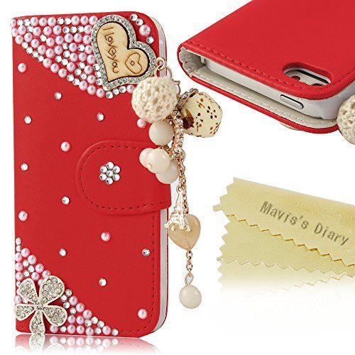 5s Case,iPhone 5s Case - Mavis's Diary 3D Handmade Bling Crystal LOVE Heart Pendant Sparkle Glitter Rhinestone Diamond Flowers PU Leather Wallet Type with Magnetic Clasp Credit Card Holder Design Folio Case Cover for Iphone 5 5S with Soft Clean Cloth (Red) Mavis's Diary http://www.amazon.com/dp/B00NNFX0MY/ref=cm_sw_r_pi_dp_flv4vb1T5RKNB