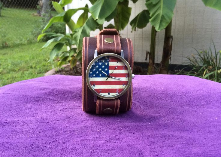 Brown Leather Cuff Watch with American Flag Face and Buckle by RockinLeather on Etsy