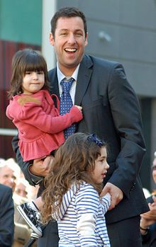 Adam Sandler with his 2 children, daughters Sadie and Sunny with wife Jacqueline Titone.