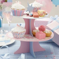 Gorgeous cake stand, perfect for a baby shower. Display baby themed cakes, sweets and treats for the mum to be from www.fuschiadesigns.co.uk