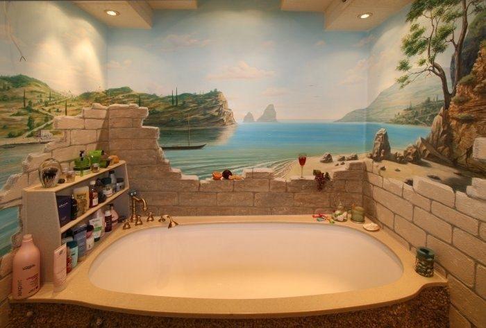 Small Bathroom Murals   bathroom wall mural