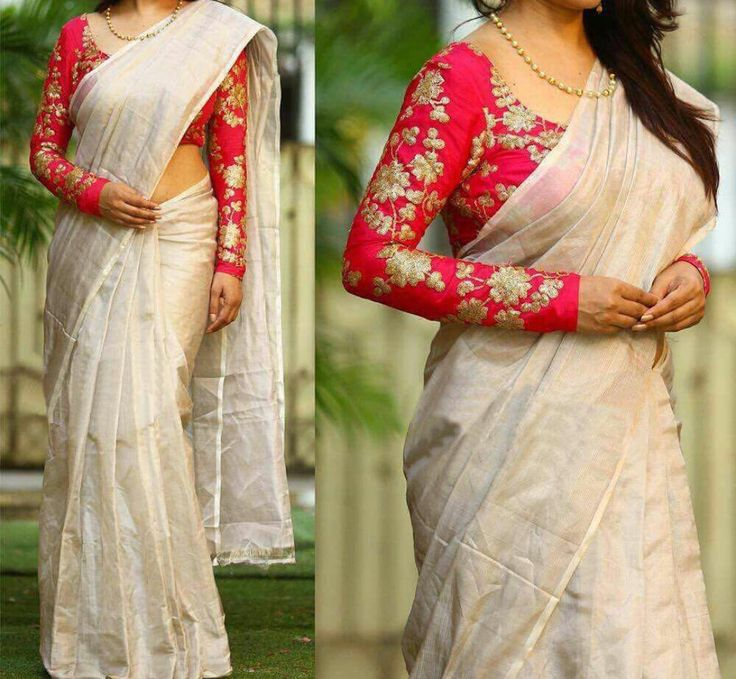 Cream and red Saree