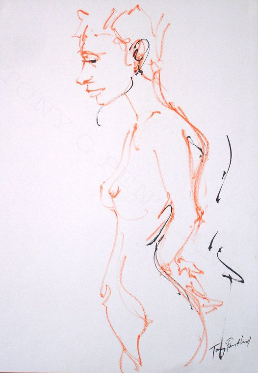 Tony G Pentland Life Drawing Oil pastel & Black ink A2