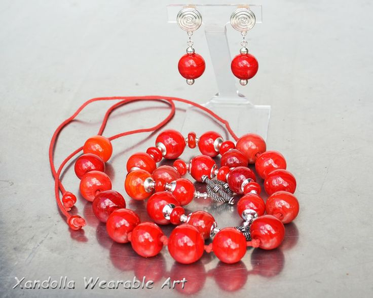 Red Baubles Series - when too much red is not nearly enough!  Necklace, bracelet and earrings by Su Bishop of Xandolla Wearable Art