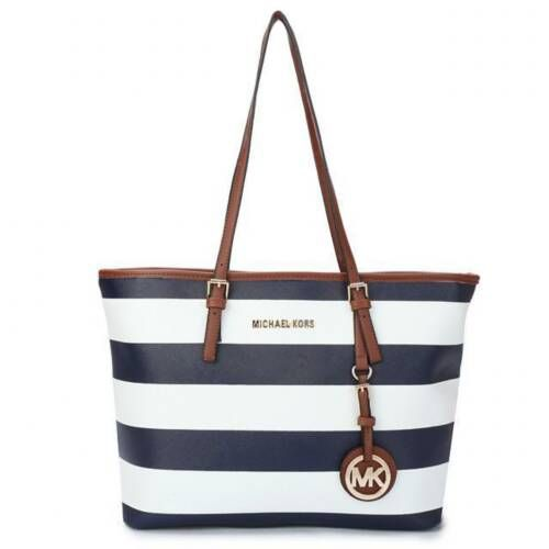 Michael Kors Jet Set Striped Travel Medium Blue White Totes Is The First Choice As A Gift For You Forever! #FallingInLoveWith #NYFW | See more about beach bags, michael kors jet and kors jet set.