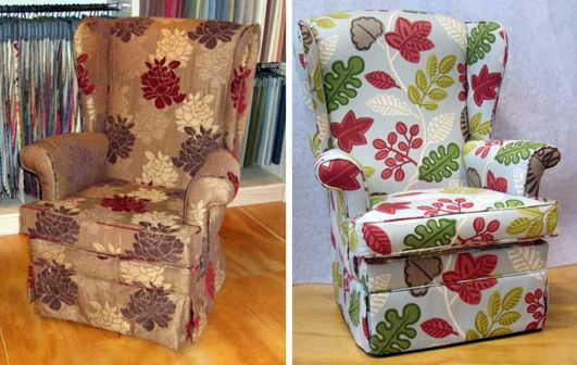 Wingback chairs in striking flora patterning - Living Room, Wellington