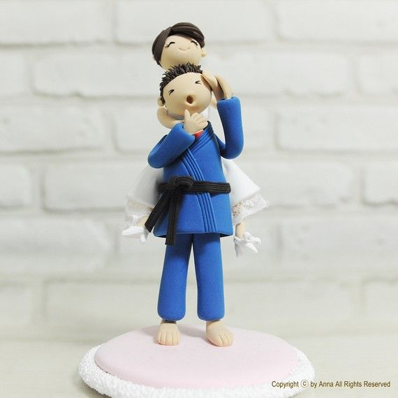 Sports theme wedding cake topper, Decoration - Judo brazilian jiu-jitsu gi.  Must get for Son's wedding cake!   Taken from Etsy:annacrafts.